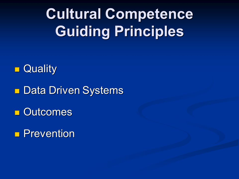 Cultural Competence Guiding Principles