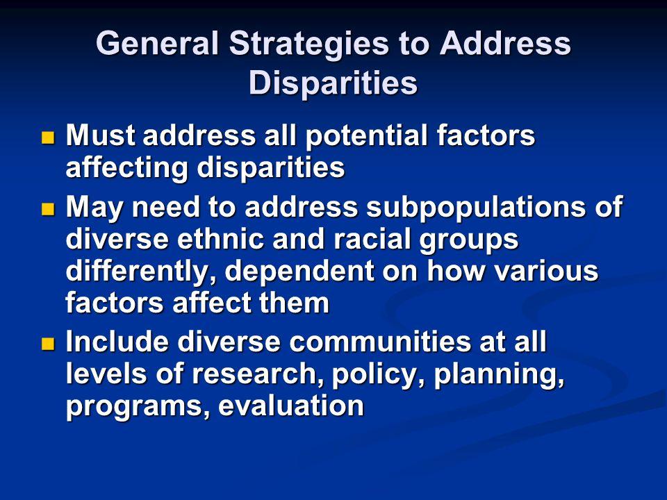 General Strategies to Address Disparities