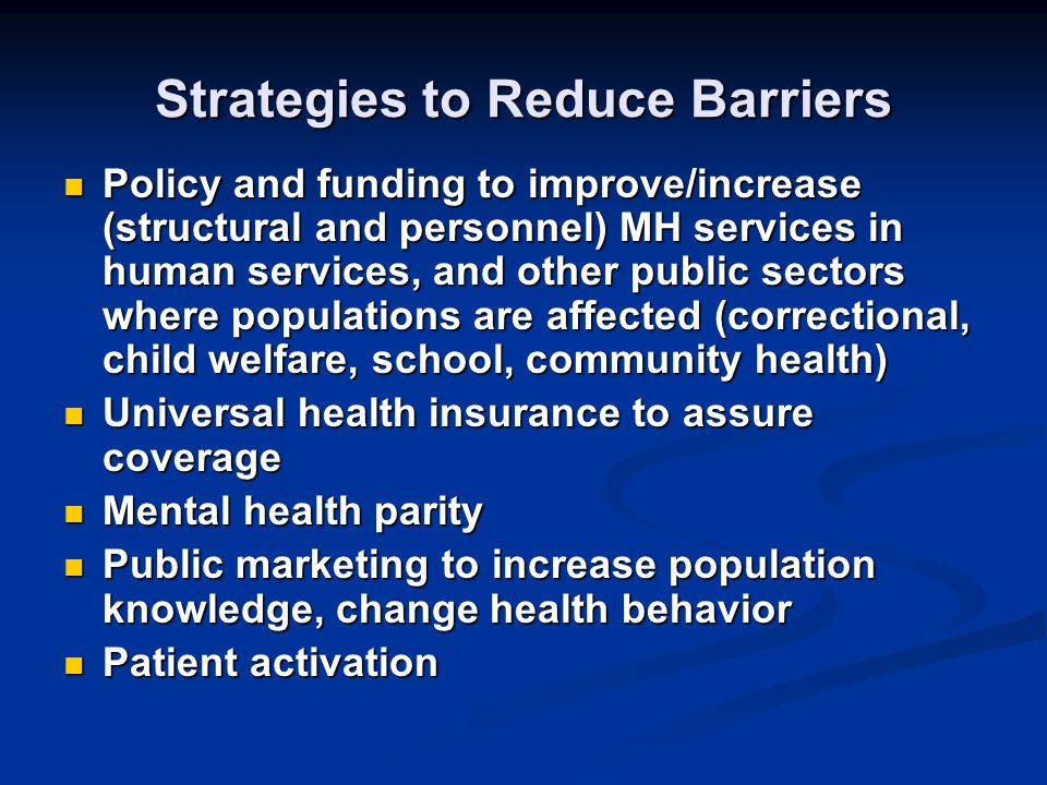 Strategies to Reduce Barriers