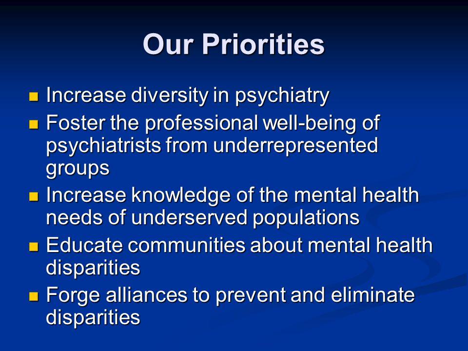 Our Priorities Increase diversity in psychiatry
