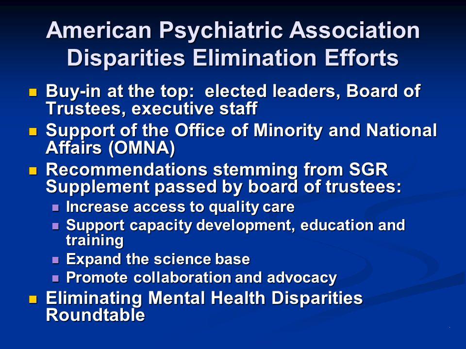American Psychiatric Association Disparities Elimination Efforts