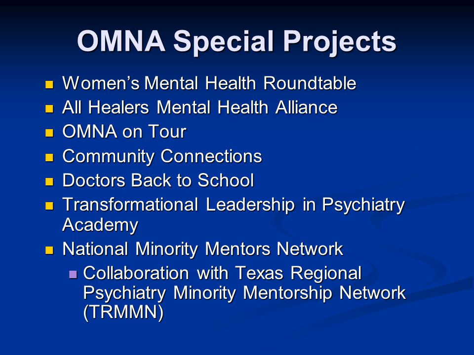 OMNA Special Projects Women's Mental Health Roundtable