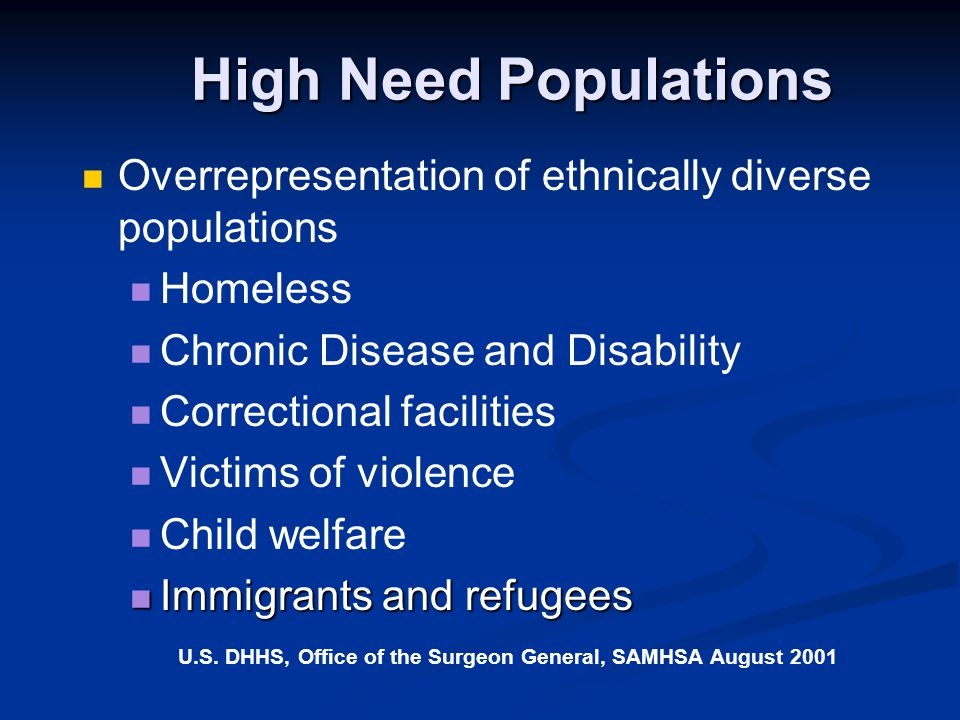 High Need Populations Overrepresentation of ethnically diverse populations. Homeless. Chronic Disease and Disability.