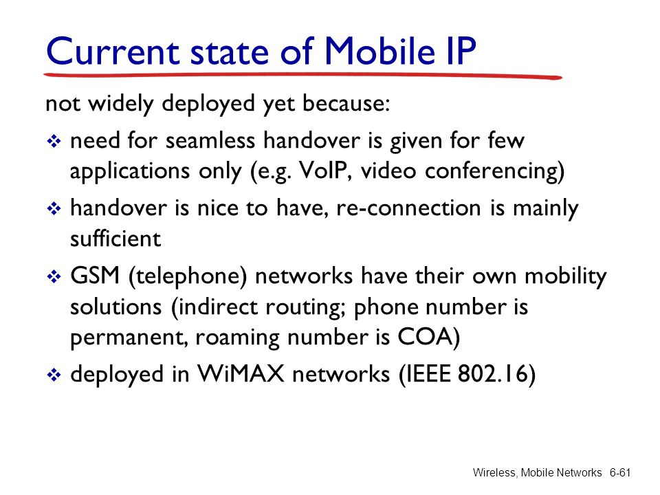 Current state of Mobile IP