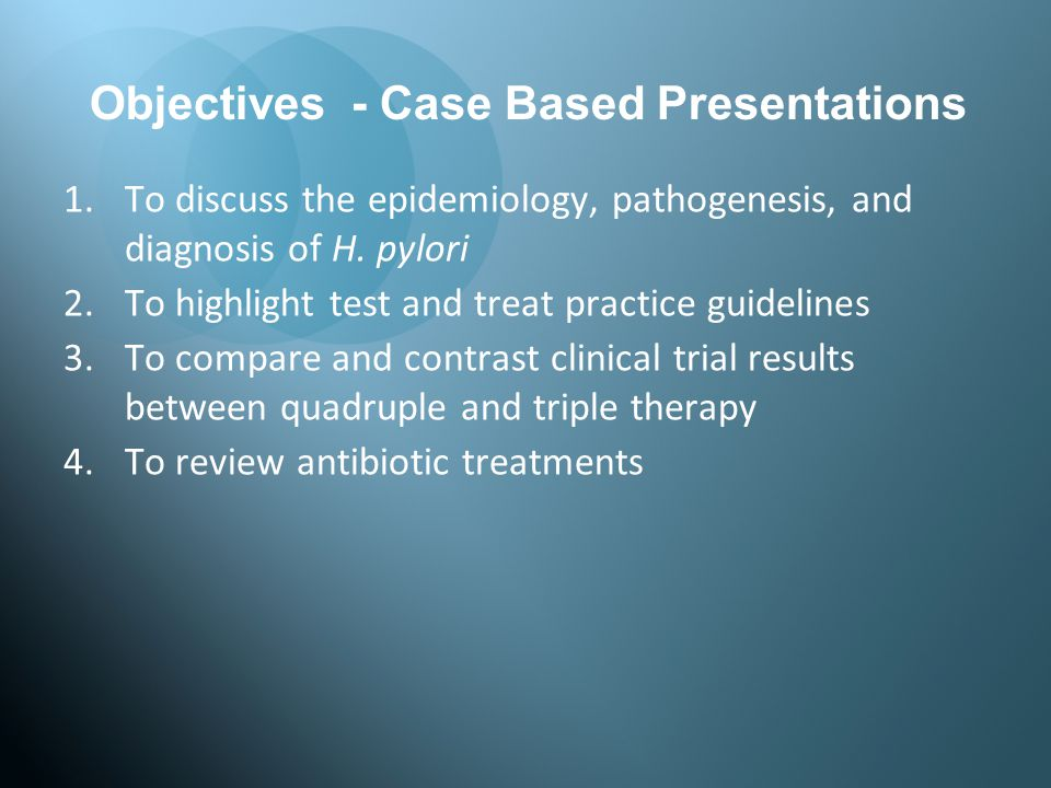 Objectives - Case Based Presentations