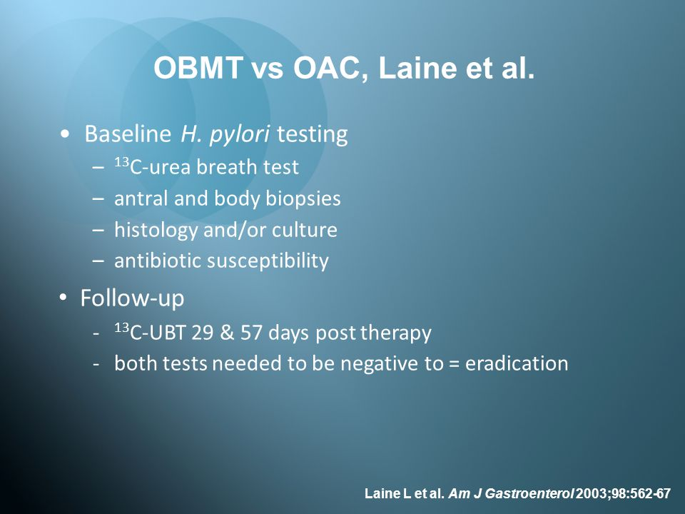OBMT vs OAC, Laine et al. Baseline H. pylori testing Follow-up