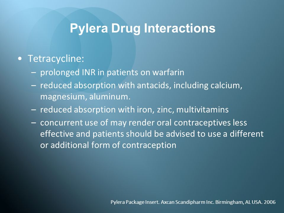 Pylera Drug Interactions