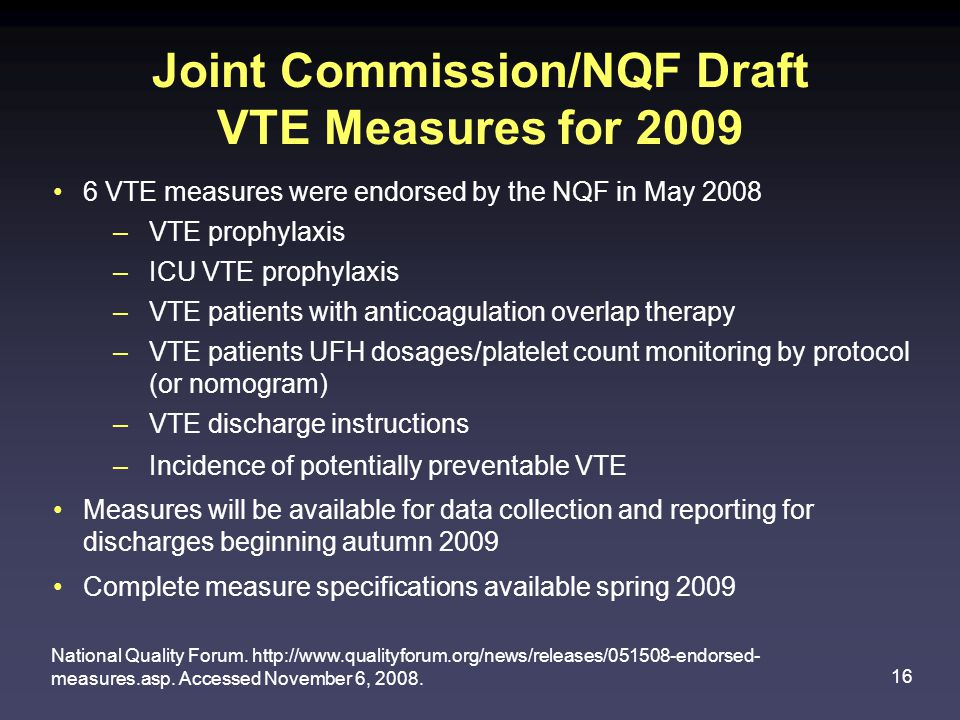 Joint Commission/NQF Draft VTE Measures for 2009