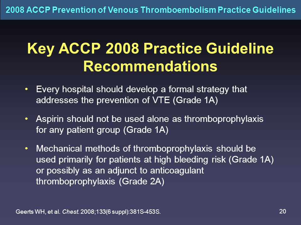 Key ACCP 2008 Practice Guideline Recommendations