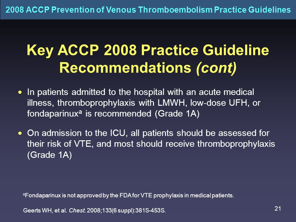 Key ACCP 2008 Practice Guideline Recommendations (cont)