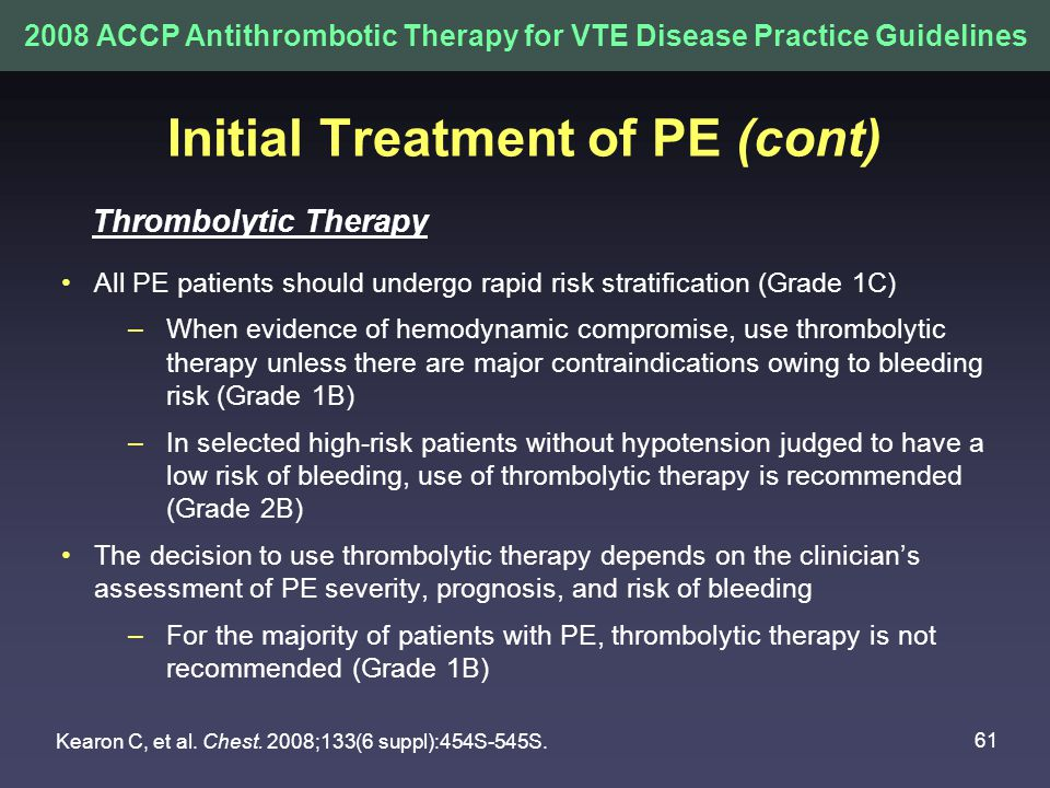 Initial Treatment of PE (cont)
