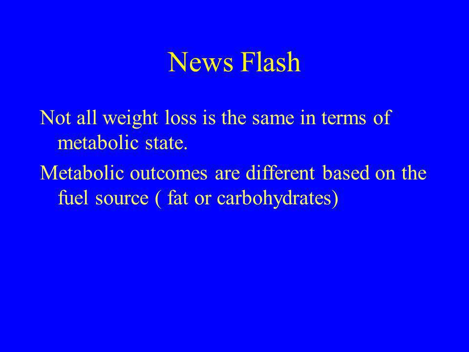News Flash Not all weight loss is the same in terms of metabolic state.