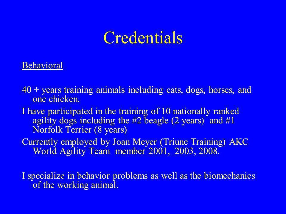 Credentials Behavioral