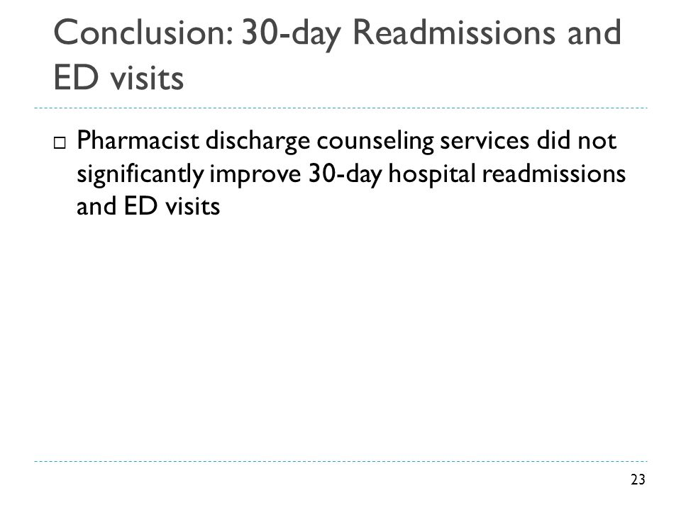 Conclusion: 30-day Readmissions and ED visits