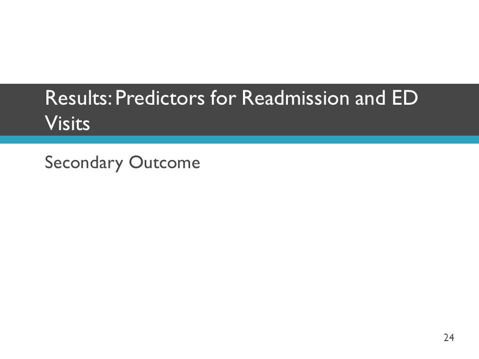Results: Predictors for Readmission and ED Visits
