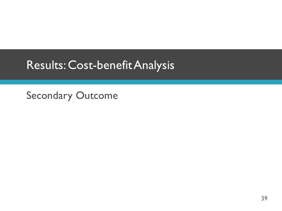 Results: Cost-benefit Analysis