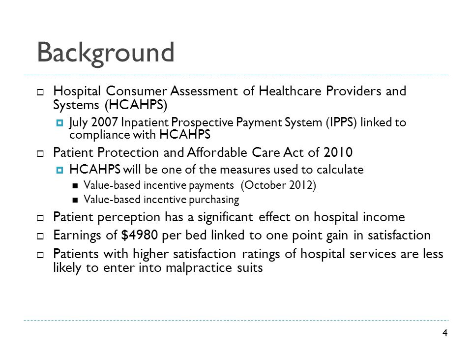 Background Hospital Consumer Assessment of Healthcare Providers and Systems (HCAHPS)