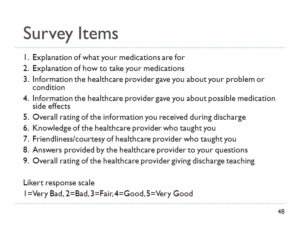 Survey Items Explanation of what your medications are for