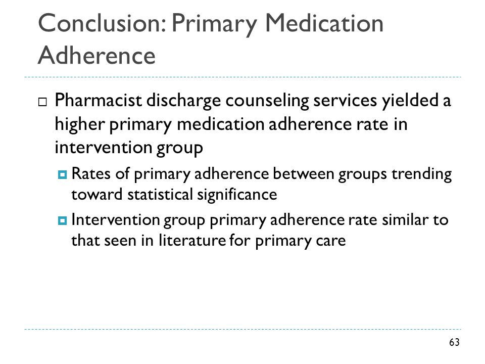 Conclusion: Primary Medication Adherence