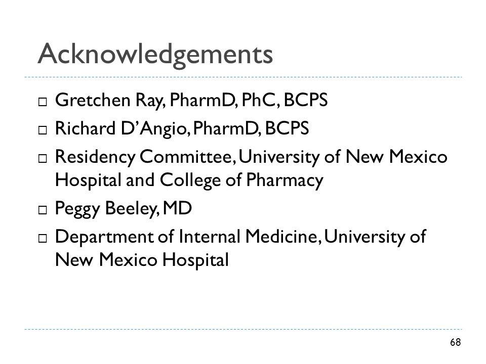 Acknowledgements Gretchen Ray, PharmD, PhC, BCPS