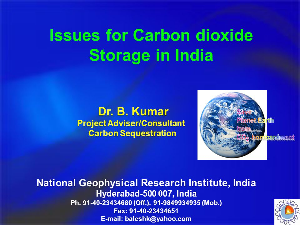 Issues for Carbon dioxide Storage in India