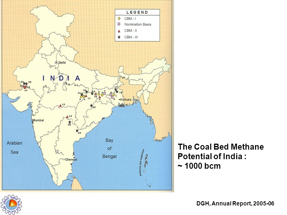 The Coal Bed Methane Potential of India : ~ 1000 bcm