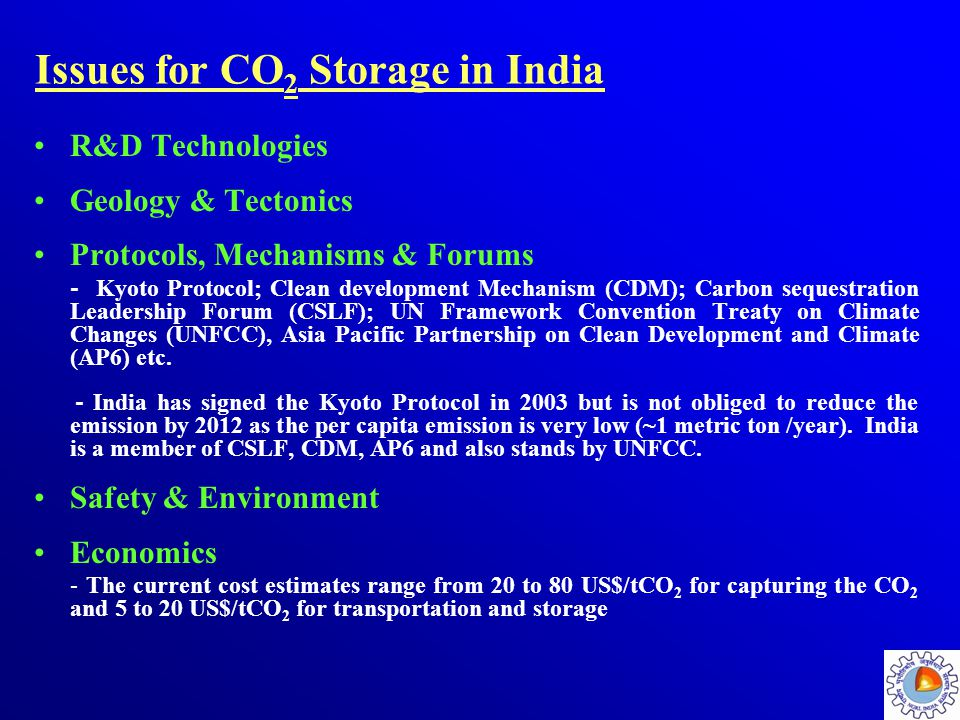 Issues for CO2 Storage in India