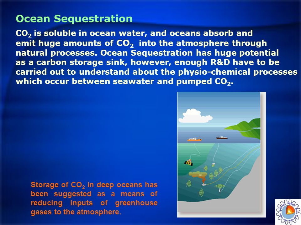 Ocean Sequestration CO2 is soluble in ocean water, and oceans absorb and. emit huge amounts of CO2 into the atmosphere through.