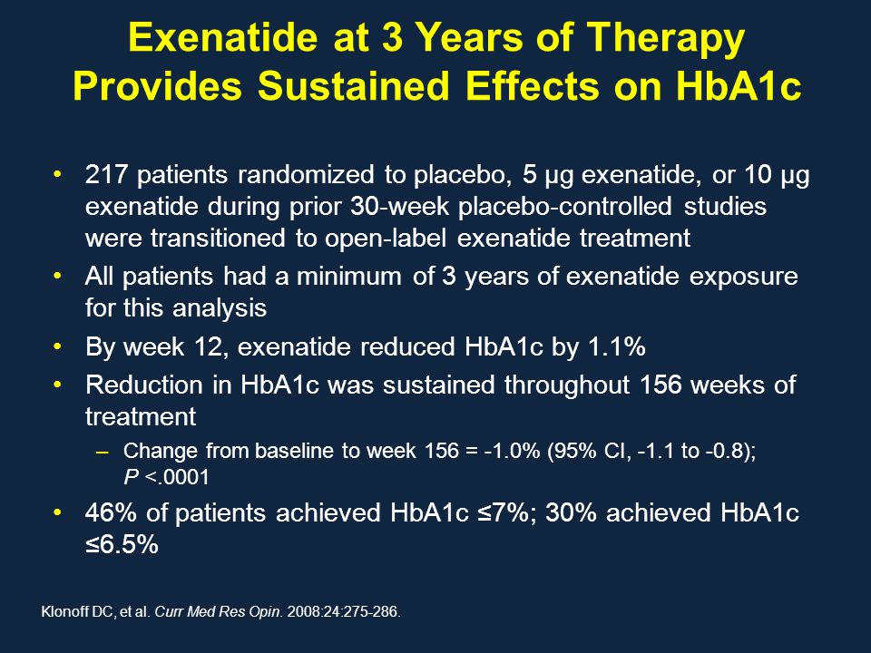 Exenatide at 3 Years of Therapy Provides Sustained Effects on HbA1c