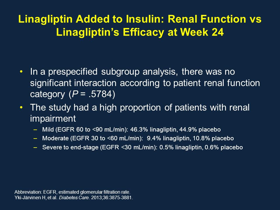 Linagliptin Added to Insulin: Renal Function vs Linagliptin's Efficacy at Week 24