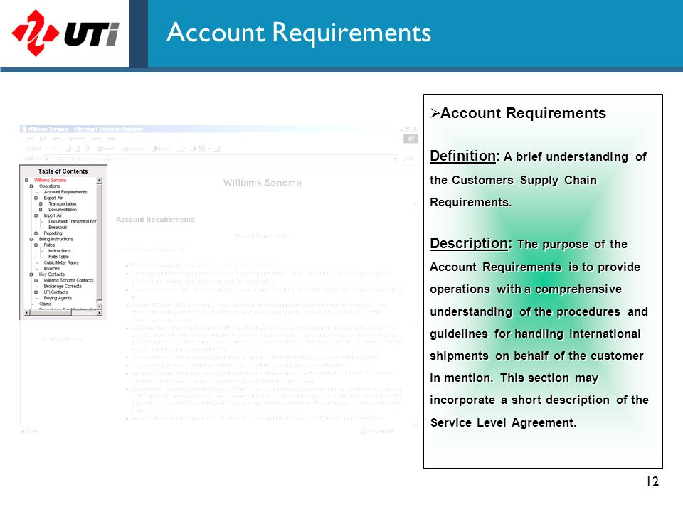 Account Requirements Account Requirements