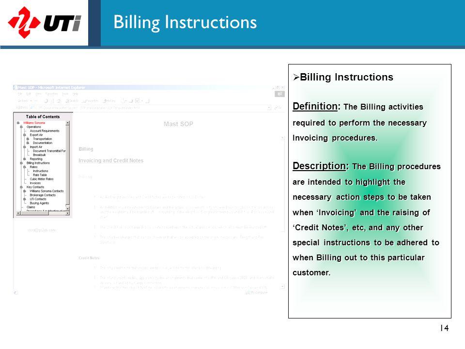 Billing Instructions Billing Instructions