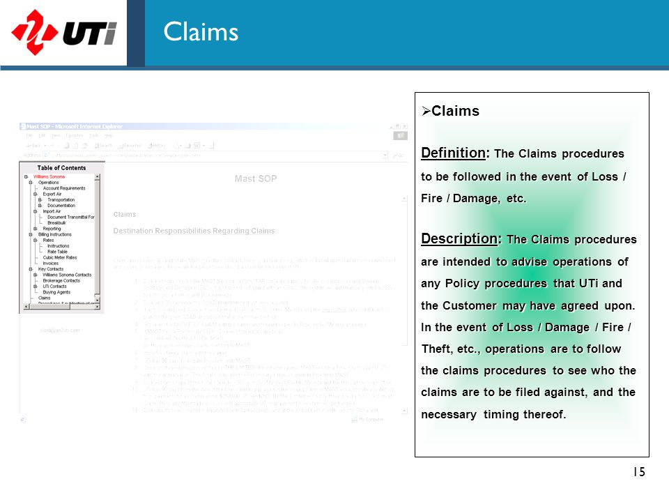 Claims Claims. Definition: The Claims procedures to be followed in the event of Loss / Fire / Damage, etc.