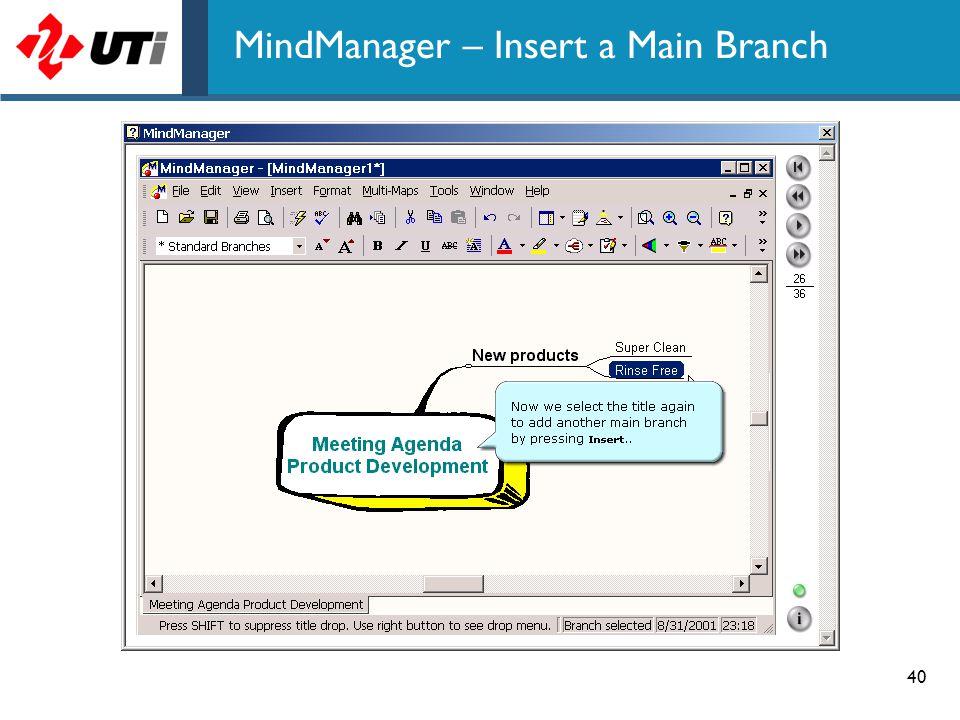 MindManager – Insert a Main Branch