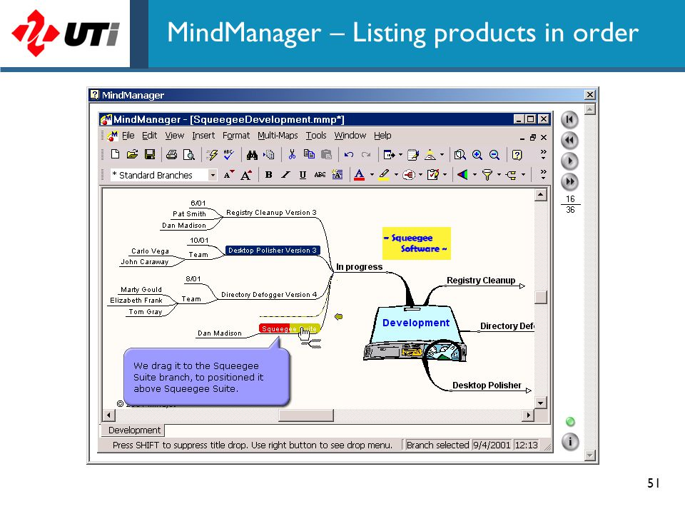 MindManager – Listing products in order