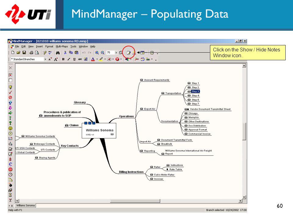 MindManager – Populating Data