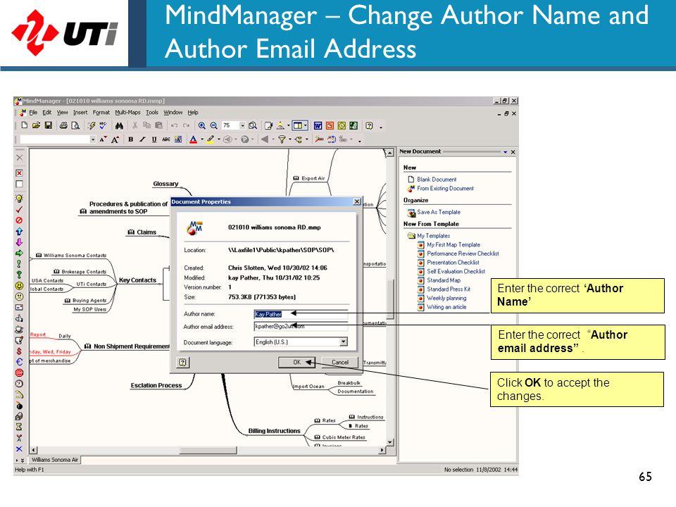MindManager – Change Author Name and Author Email Address