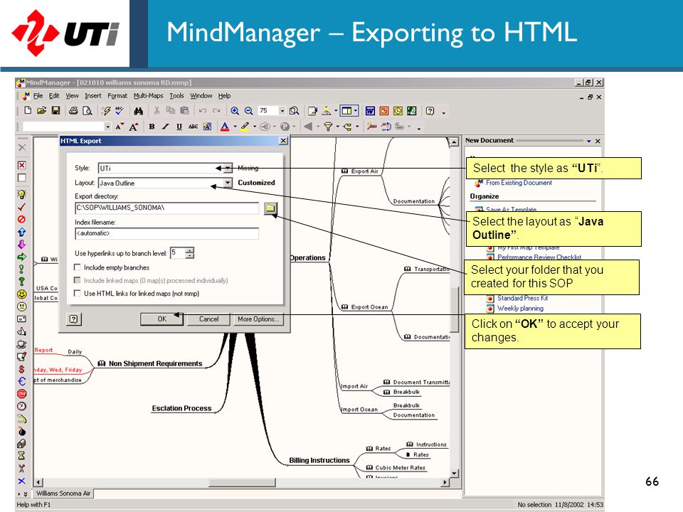 MindManager – Exporting to HTML