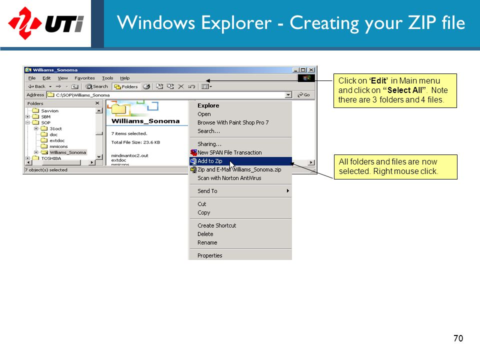 Windows Explorer - Creating your ZIP file