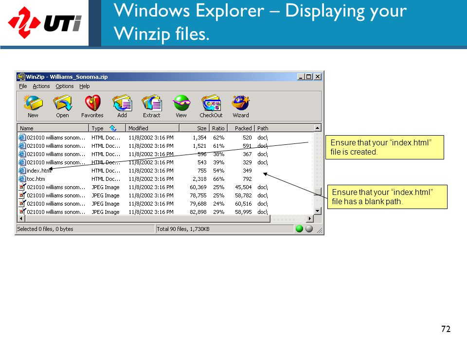 Windows Explorer – Displaying your Winzip files.
