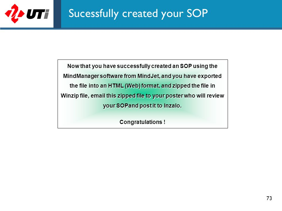 Sucessfully created your SOP