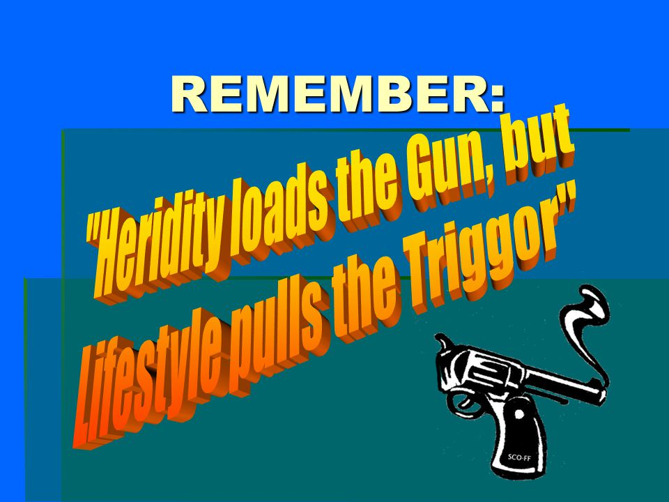 REMEMBER: Heridity loads the Gun, but Lifestyle pulls the Triggor