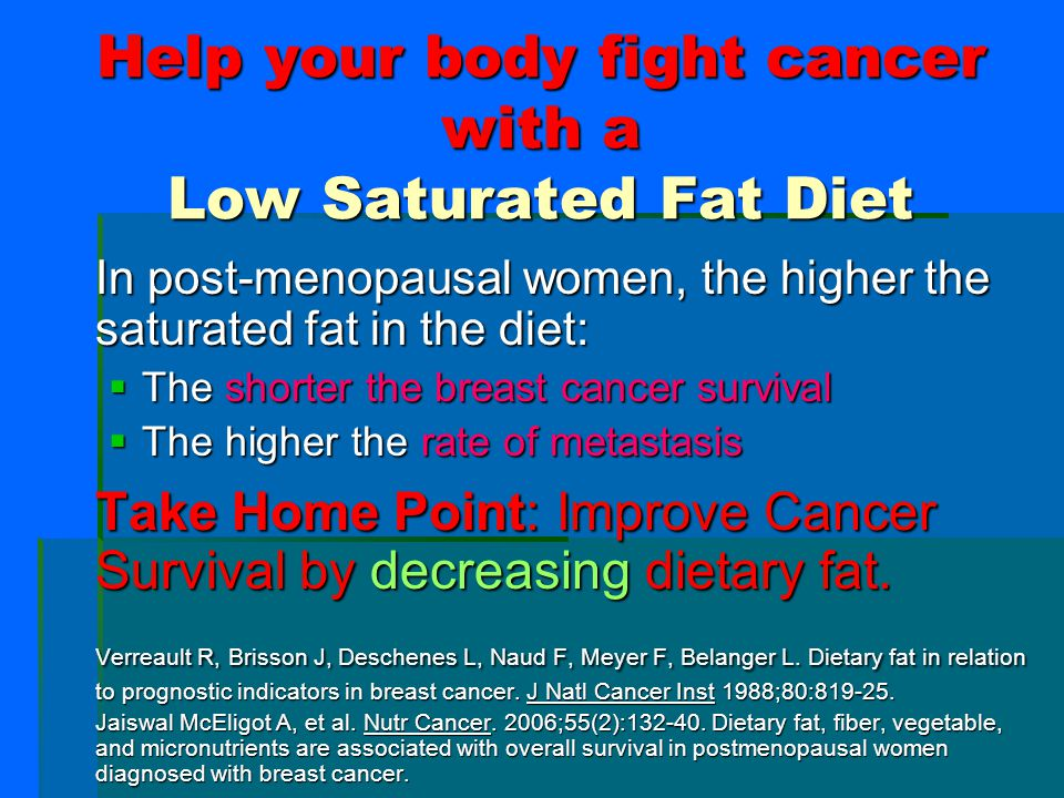 Help your body fight cancer with a Low Saturated Fat Diet