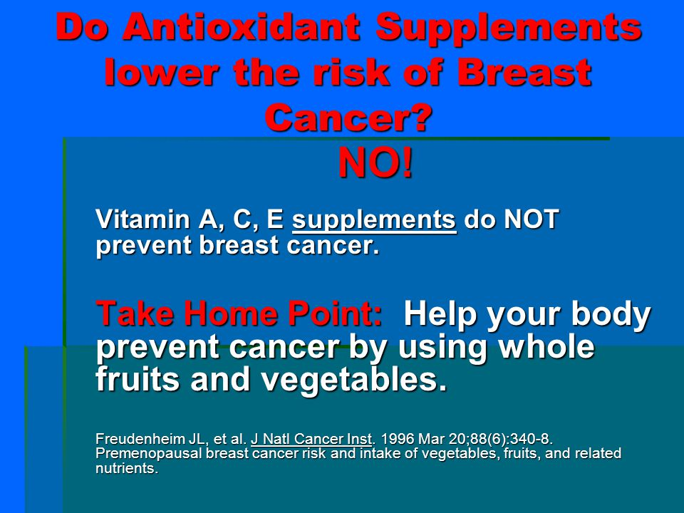 Do Antioxidant Supplements lower the risk of Breast Cancer