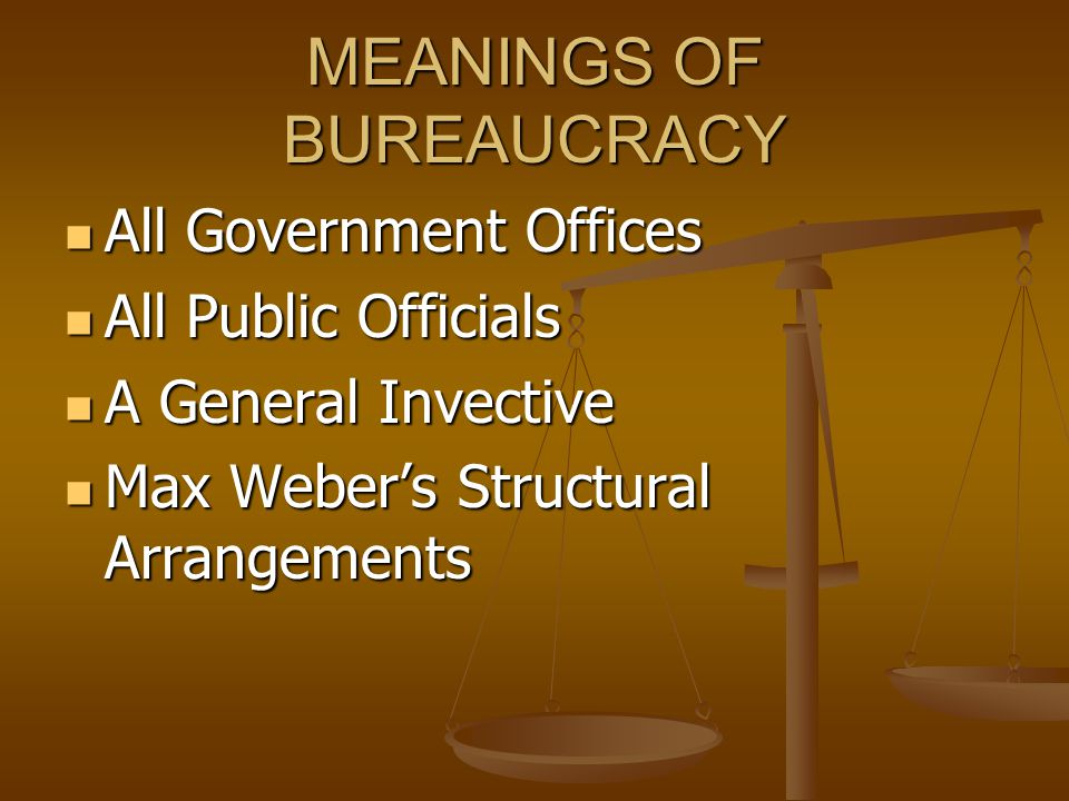 MEANINGS OF BUREAUCRACY