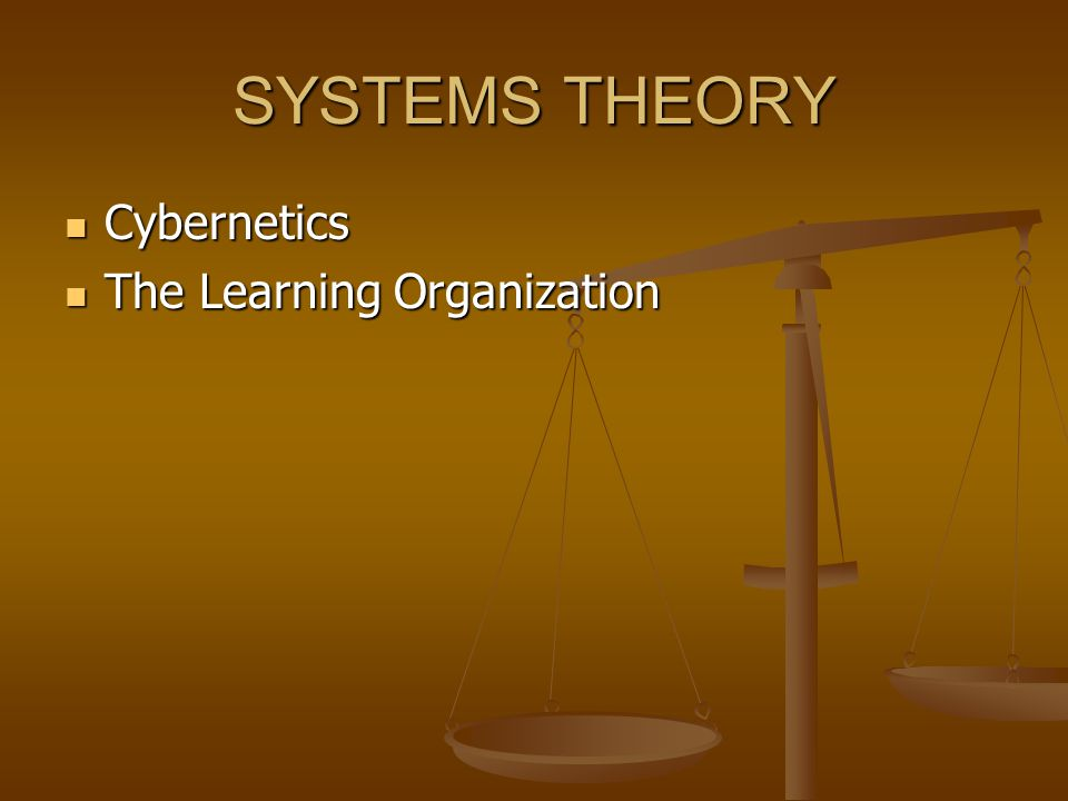 SYSTEMS THEORY Cybernetics The Learning Organization