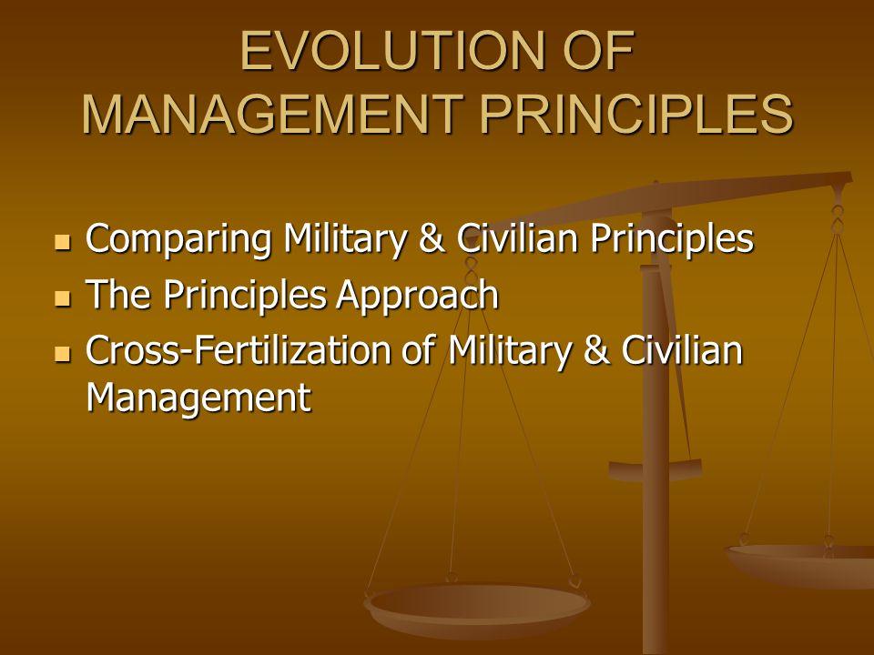EVOLUTION OF MANAGEMENT PRINCIPLES