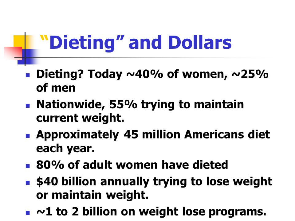 Dieting and Dollars Dieting Today ~40% of women, ~25% of men