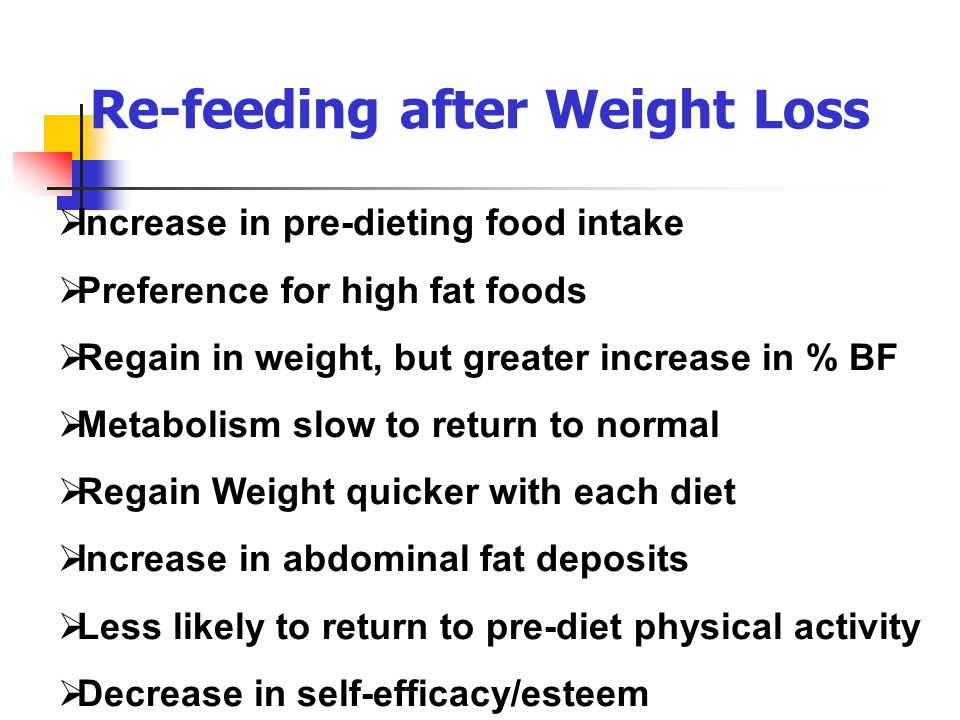 Re-feeding after Weight Loss