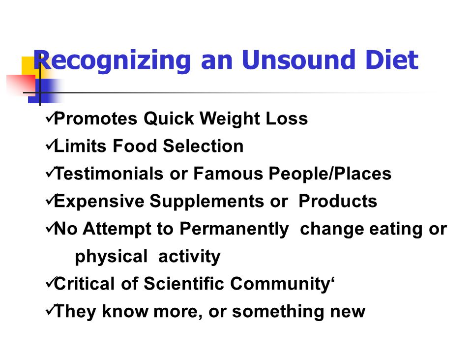 Recognizing an Unsound Diet